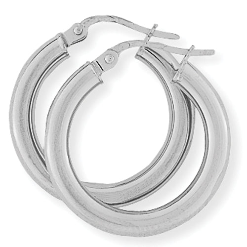 9ct White Gold Classic Hoop Earrings