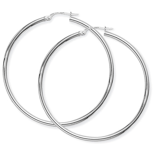 9CT White Gold Thin Hoop Earrings