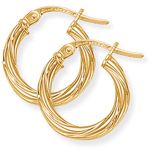 9CT Twisted Hoop Earrings