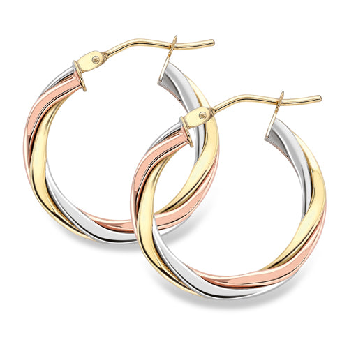 9ct Three Colour Gold Hoop Earrings