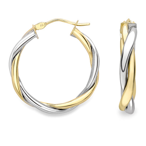 9CT White and Yellow Gold Hoop Earrings