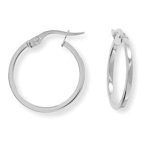 9ct White Gold Square Tube Round Hoop Earrings
