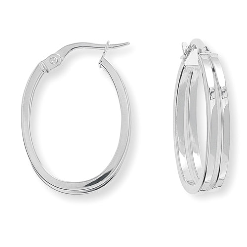 9ct White Gold Square Tube Oval Hoop Earrings