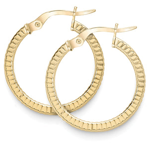 9ct Gold Patterned Hoop Earrings