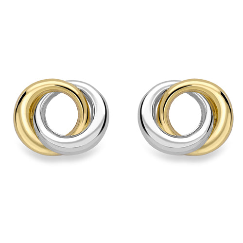 9ct Yellow and White Gold Stud Earrings
