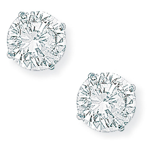 9ct White Gold Claw-set Cubic Zirconia Stud Earrings