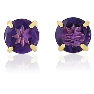 9CT Amethyst Round Earrings