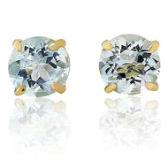 9CT Blue Topaz Round Earrings