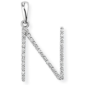 18ct White Gold Diamond Initial Pendant (A-Z Available)