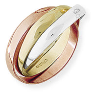 9ct White, Rose and Yellow Gold 'Russian' Wedding Ring