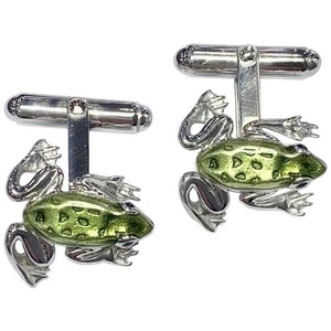 Silver and Enamel Frog Hinged Cufflinks