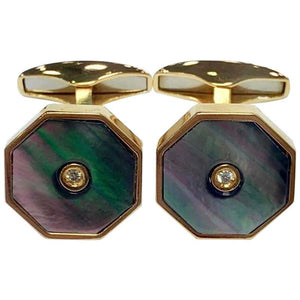 Silver Gold-Plated Mother of Pearl and Diamond Cufflinks