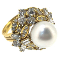 Sena Yellow Gold South Sea Pearl and Diamond Cocktail Ring