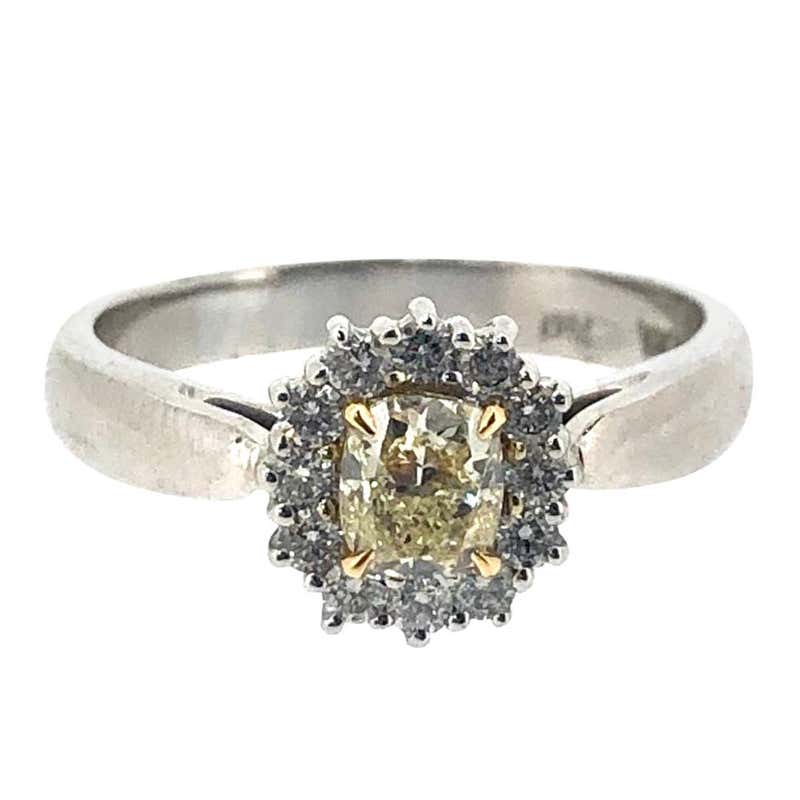 DGI Certified Fancy Light Yellow Diamond Cluster Ring