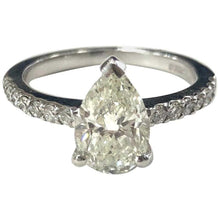Load image into Gallery viewer, Pear Shape Diamond Single Stone Engagement Ring with Diamond Shoulders