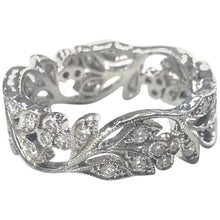 Load image into Gallery viewer, Edwardian Style Diamond Set Floral Design Band Ring 18 Carat White Gold