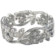 Edwardian Style Diamond Set Floral Design Band Ring 18 Carat White Gold