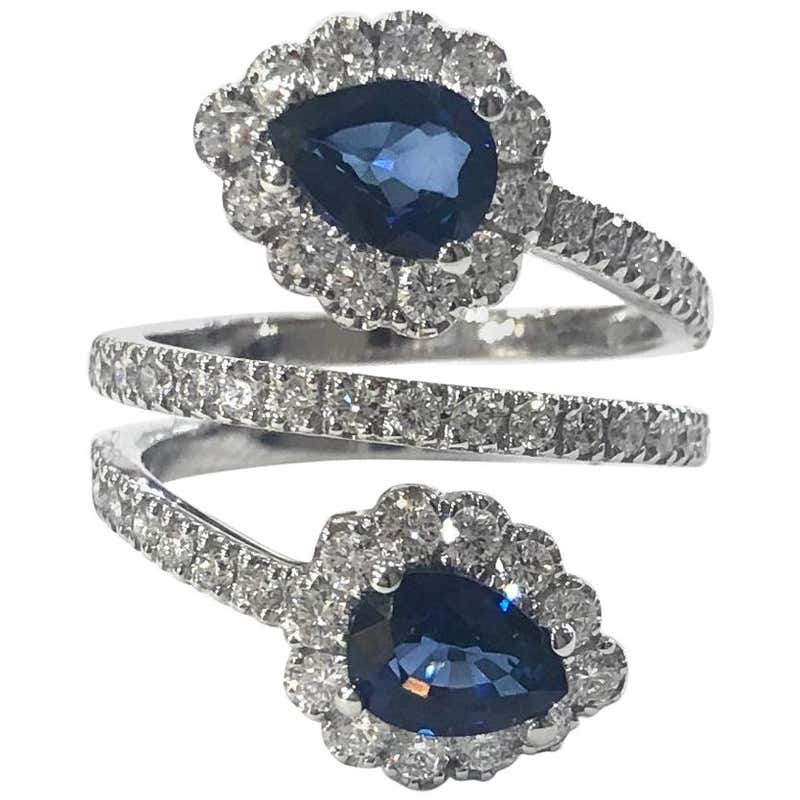 Diamond and Sapphire Crossover Cocktail Ring 18 Carat White Gold