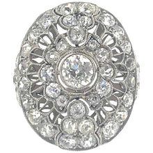 Load image into Gallery viewer, Art Deco Old Cut Diamond Cluster Ring in Platinum