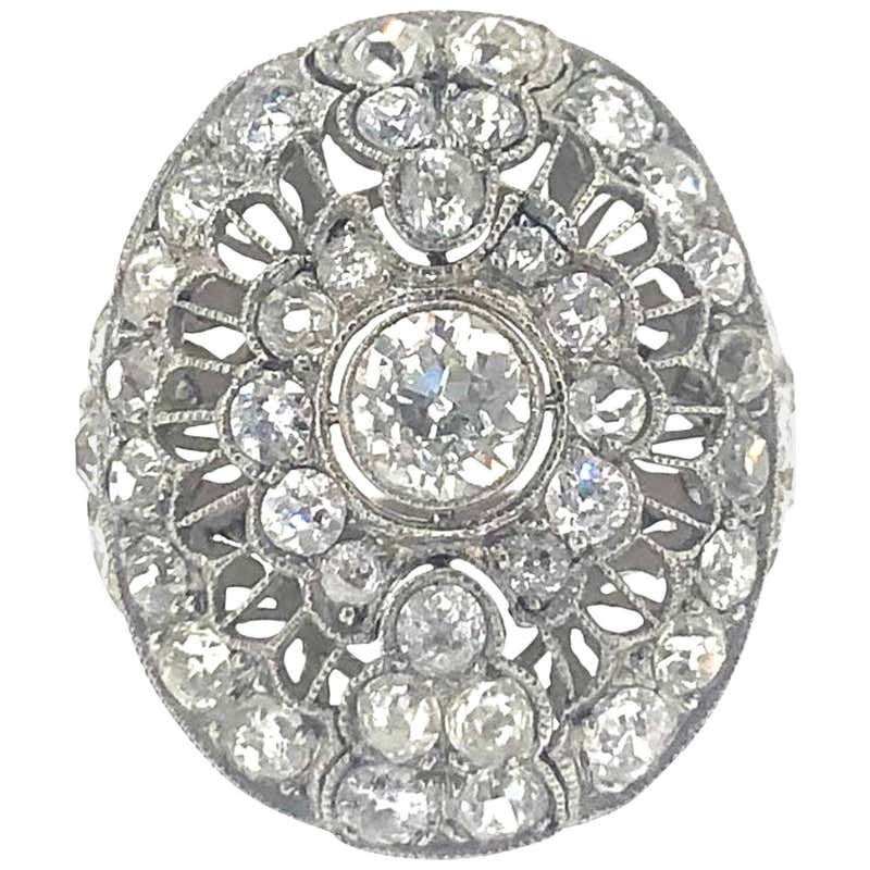 Art Deco Old Cut Diamond Cluster Ring in Platinum