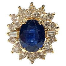 Load image into Gallery viewer, 14 Carat Yellow Gold Sapphire and Diamond Cluster Ring