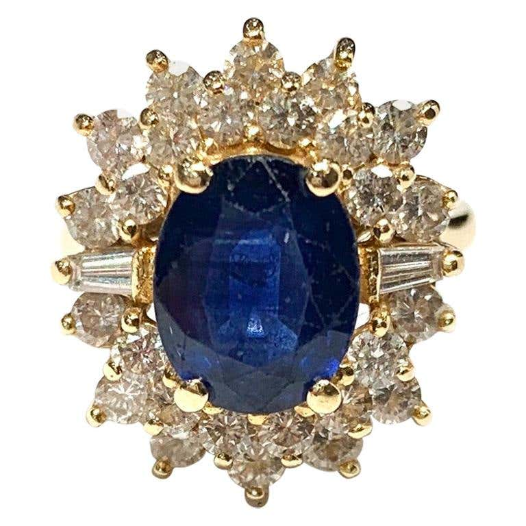 14 Carat Yellow Gold Sapphire and Diamond Cluster Ring