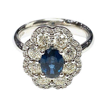 Load image into Gallery viewer, 18 Carat White Gold Sapphire and Diamond Flower Cluster Ring