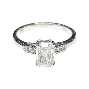 Certified 1.04 Carat Radiant Cut D Color Diamond Single-Stone Engagement Ring