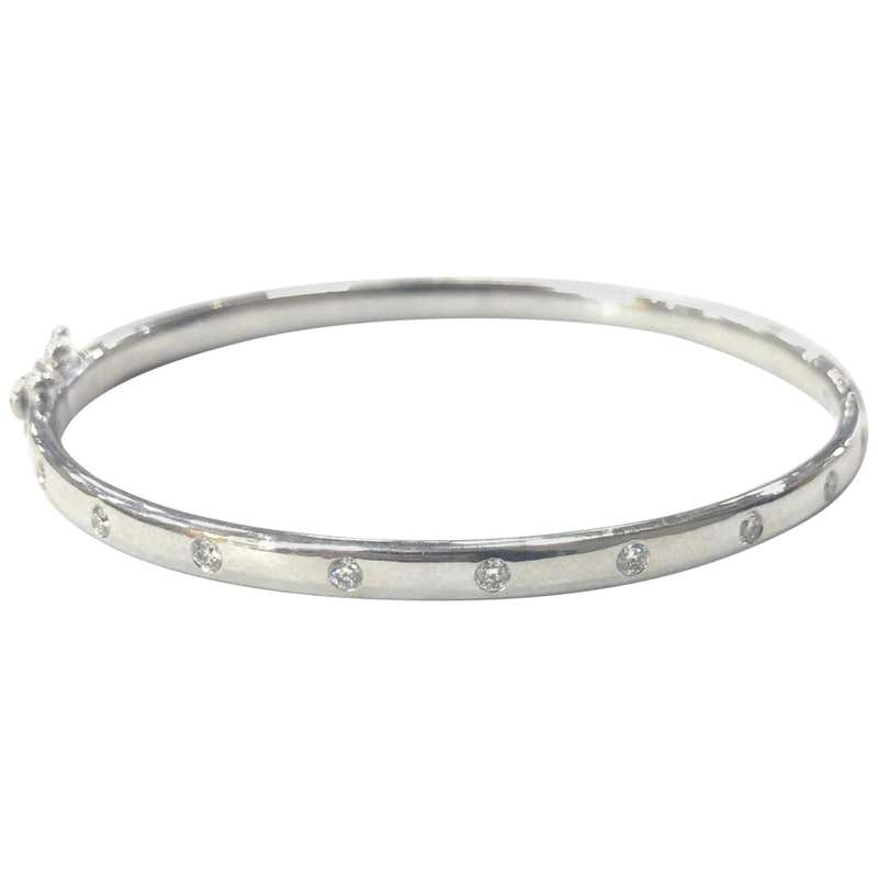 9 Carat White Gold Solid Hinged Diamond Bangle