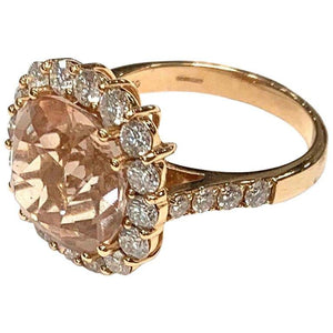 Rose Gold Morganite and Diamond Cluster Ring
