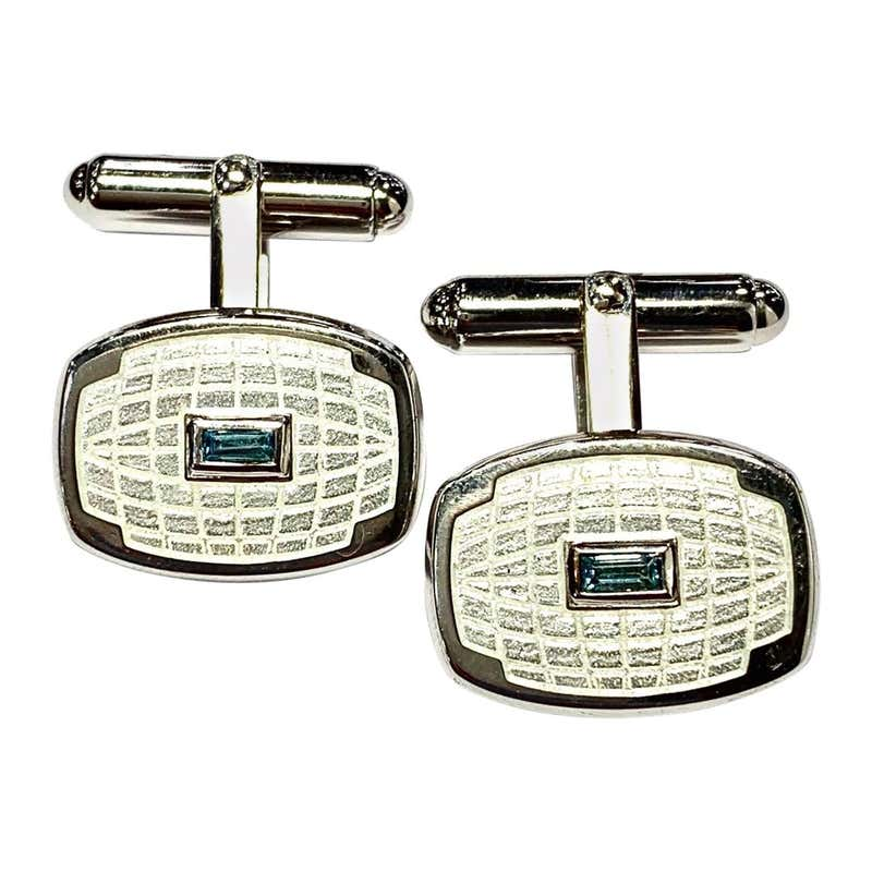 Blue Topaz and Enamel Solid Silver Hinged Cufflinks