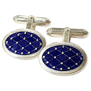 Navy Blue Solid Silver and Enamel Hinged Cufflinks