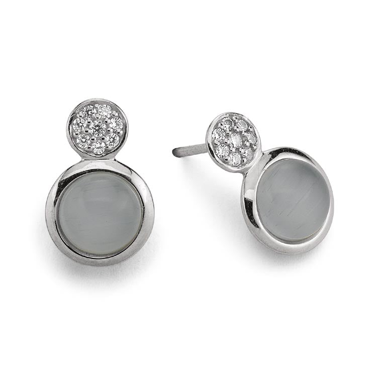 Silver Viventy CZ and Moonstone Earrings