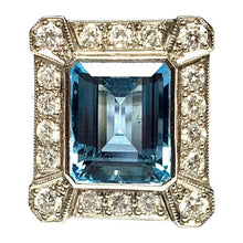 Load image into Gallery viewer, 18 Carat White Gold Art Deco Aquamarine and Diamond Ring