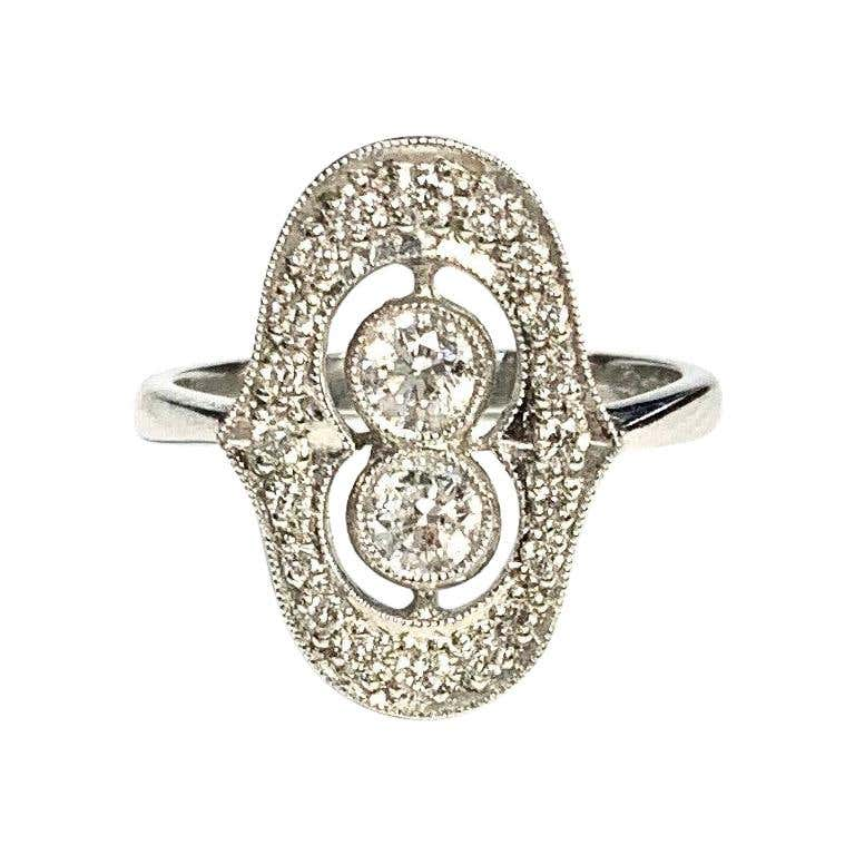 Platinum Art Deco Diamond Cluster Ring