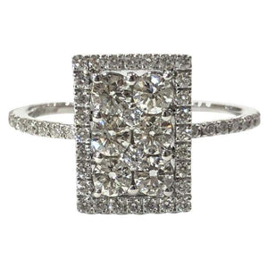 18 Carat White Gold Delicate Art Deco Style Diamond Cluster Ring