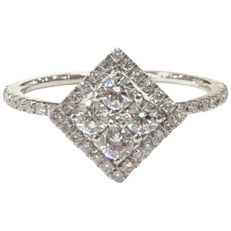 18 Carat White Gold Diamond Shape Delicate Art Deco Style Diamond Cluster Ring