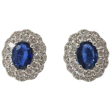 Load image into Gallery viewer, Large Edwardian Style Sapphire and Diamond Cluster Ear Studs