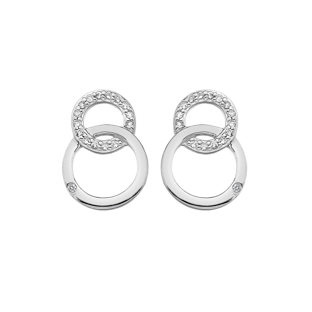 Silver Hot Diamonds Interlocking Earrings