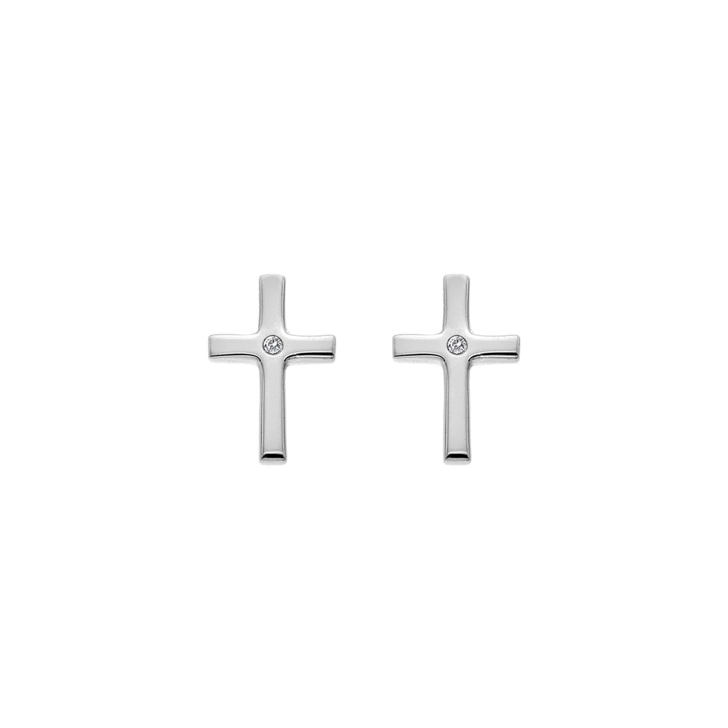 Silver Hot Diamonds Cross Earrings