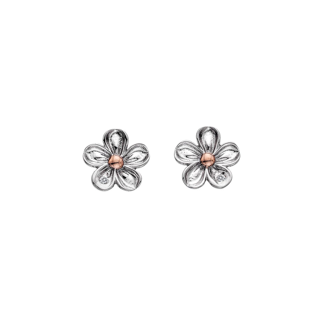 Silver Hot Diamonds Flower Earrings