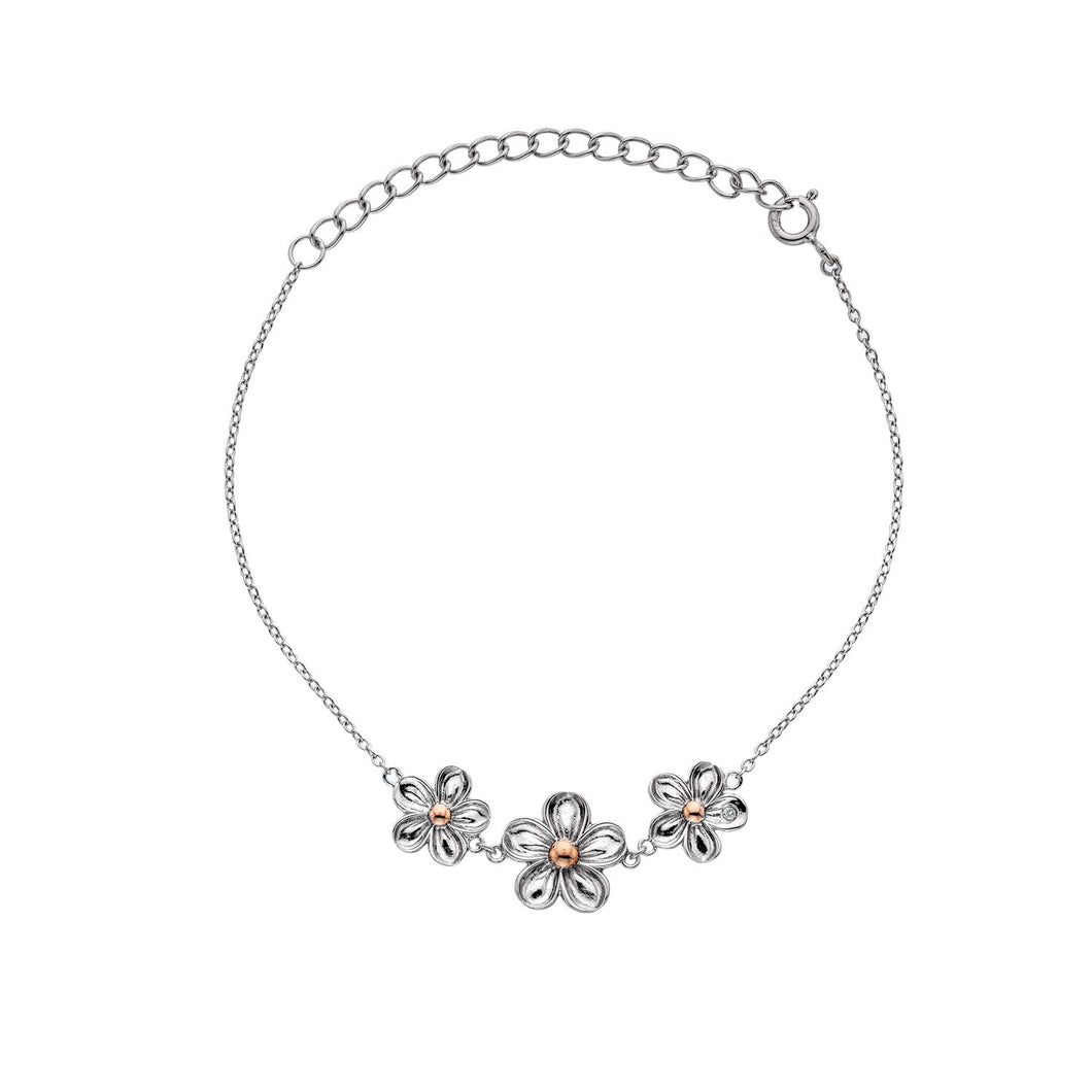 Silver Hot Diamonds Flower Bracelet