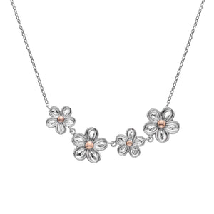 Silver Hot Diamonds Flower Necklace