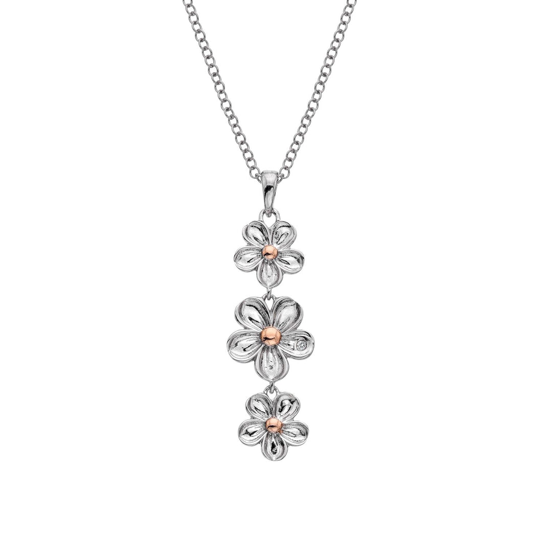 Silver Hot Diamonds Flower Pendant