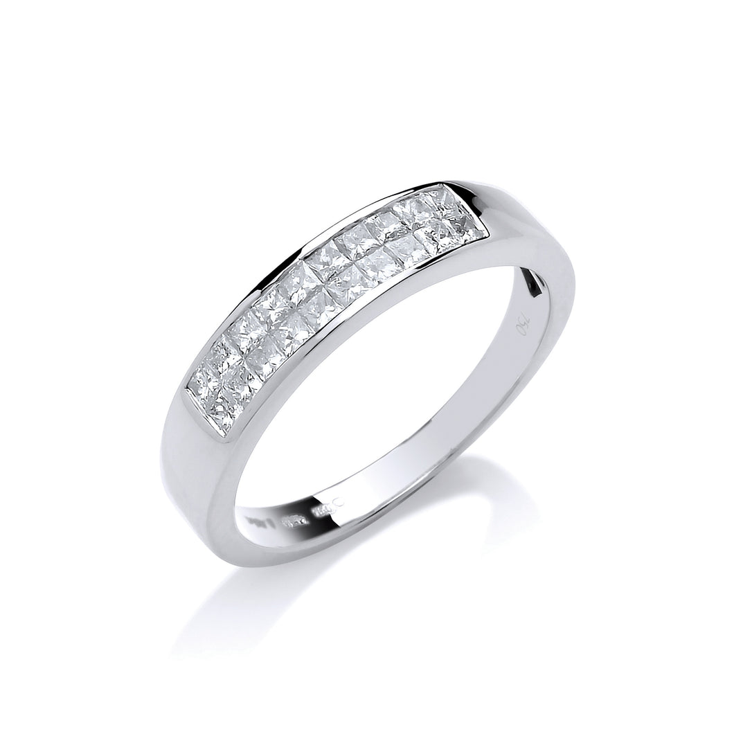 18ct White Gold Diamond 0.50ct Princess Cut 2 Row Eternity Ring