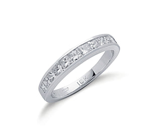 18ct White Gold Princess Cut Diamond 1.00ct Half Eternity Ring