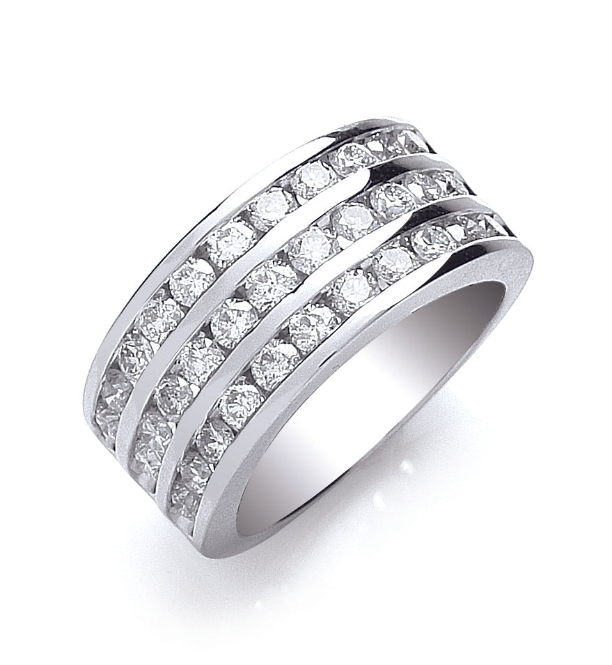 18ct White Gold Diamond 1.50ct Three Row Eternity Ring