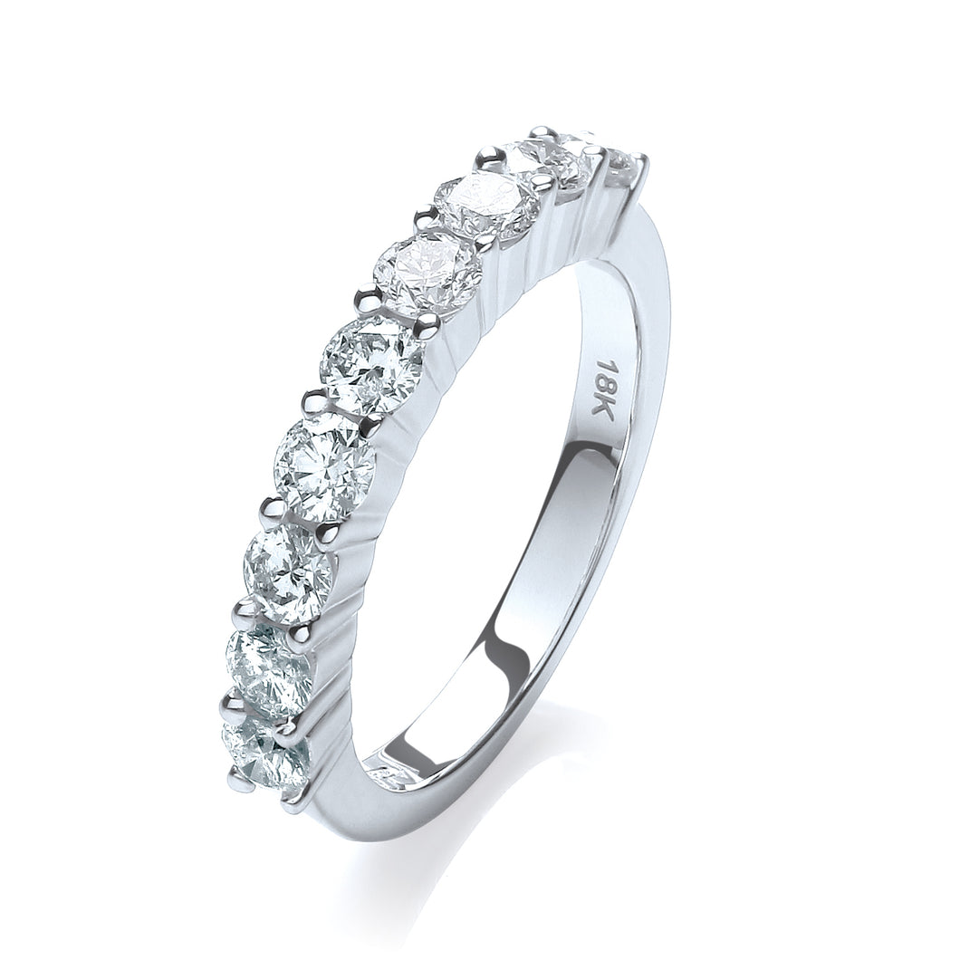 18ct White Gold Diamond 1.00ct Half Eternity Ring