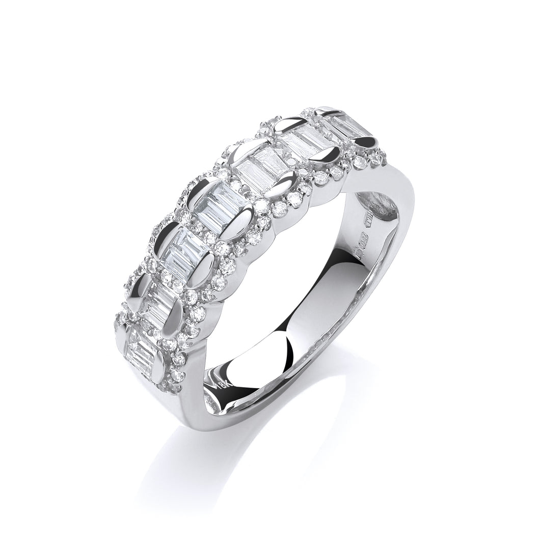 18ct White Gold Diamond 0.75ct Half Eternity Ring