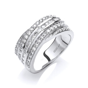 18ct White Gold Diamond 0.75ct Crossover Ring